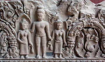 Relief in Stein im Tempel, Kambodscha von Rietje Bulthuis