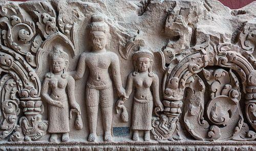 Reliëf  in steen in de tempel, Cambodja