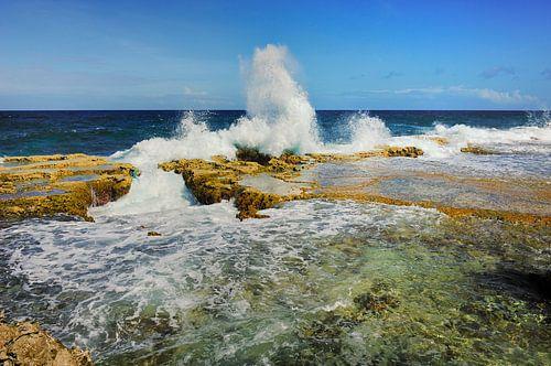 Golven aan de oostkust van Bonaire
