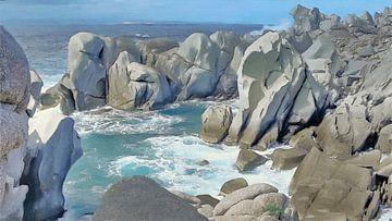 Landschaft der Küste mit Felsen - Sardinien - Capo Testa - Gemälde von Schildersatelier van der Ven