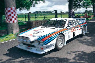 Lancia Rally 037 klassieke rally auto rijdend op hoge snelheid van Sjoerd van der Wal