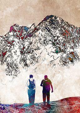 Bergwanderung Sport Kunst von JBJart Justyna Jaszke