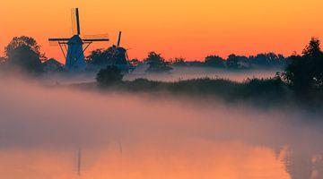 Lever du soleil, Ten Boer, Groningue, Pays-Bas sur Henk Meijer Photography