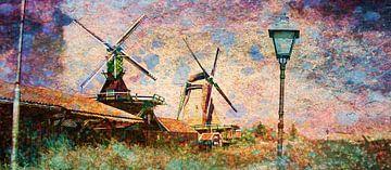 Zaanse Schans in Pastelkleur  van Sjoerd Smit