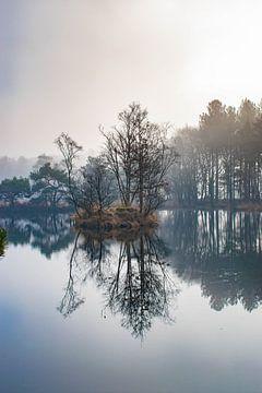 Meer in de mist staande versie van Jacqueline De Rooij Fotografie