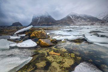 Winterse Fjord Lofoten van Peter Poppe