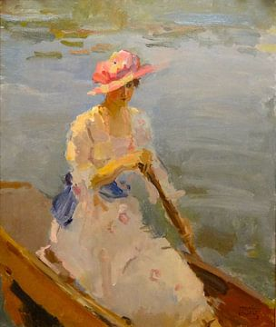 Junge Frau rudert auf der Themse, Isaac Israëls von
