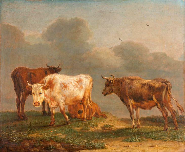 Vier Kühe auf der Weide, Paulus Potter von Meesterlijcke Meesters