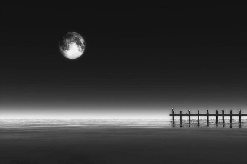 Landschap – Maan boven de zee en pier van Jan Keteleer