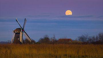 Vollmond auf der Noordermolen, Groningen, Niederlande von Henk Meijer Photography