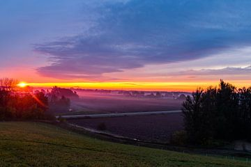 Sonnenaufgang mit einer Nebelschicht von Devlin Jacobs