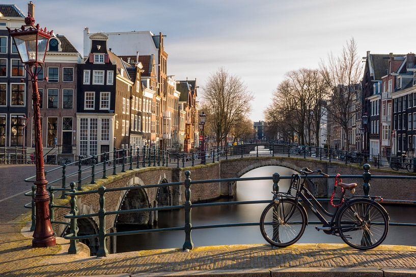 Sunset Bike - Leidsegracht Amsterdam van Thomas van Galen