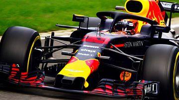 Max verstappen op Spa-Francorchamps bij het spectaculaire eau rouge van Stefano Scoop