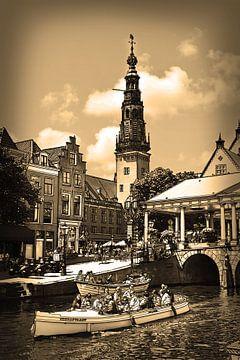 Pentekening Leiden Sepia Tekening Stadhuis en Kroonbrug Lijntekening van Hendrik-Jan Kornelis