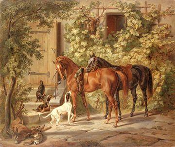 Pferde auf der Veranda, Albrecht Adam