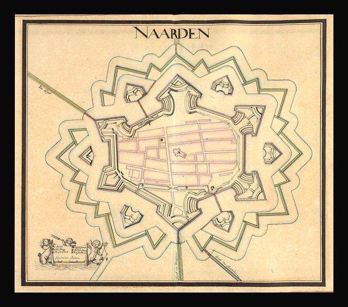Oude kaart van de vesting Naarden van omstreeks 1715. van Gert Hilbink