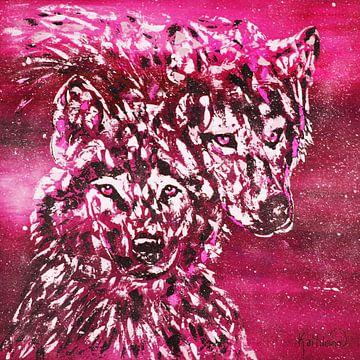 Winter Wolf magenta van Kathleen Artist Fine Art