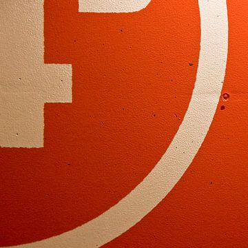 Vlakken en lijnen in Oranje en Wit van Rob van der Pijll