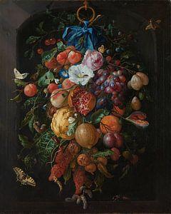 Stillleben Girlande aus Obst und Blumen - Jan Davidsz
