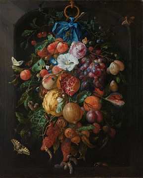 Stilleven festoen van fruit en bloemen van Diverse Meesters