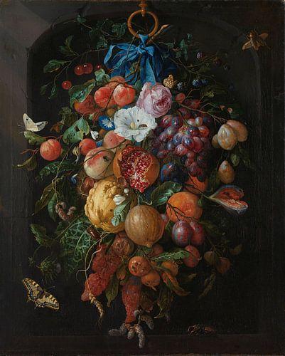 Stilleven festoen van fruit en bloemen von Diverse Meesters