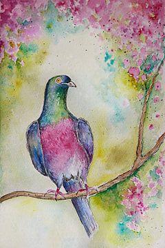 Aquarell einer Taube mit einem Blütenzweig... von Els Fonteine