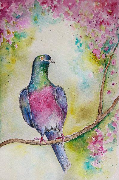 aquarel van een duif met bloesemtak.. van Els Fonteine