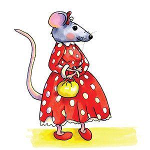 Lustige Maus mit rotem Kleid