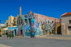 Plein in Rethymnon en Gebouw met Graffiti van