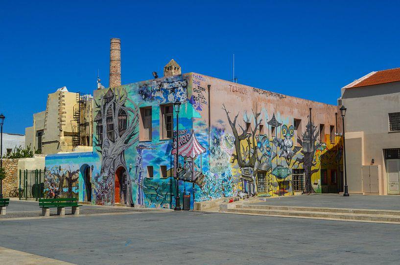 Plein in Rethymnon en Gebouw met Graffiti van Melvin Fotografie