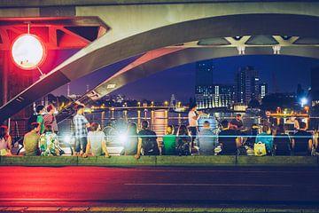 Berlijn - Straatmuziek op de Oberbaumbrücke van Alexander Voss
