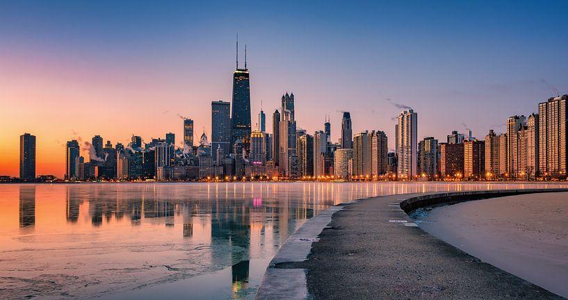 Chicago Illinois Skyline van Photo Wall Decoration