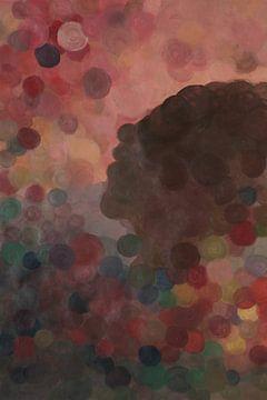 Abstraktes Porträt mit Kreisen von Vera Zuur