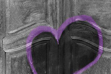 Abstracte deur met grunge hart van