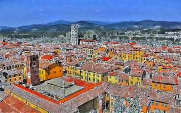 Lucca - Toscane - Italië - Olieverf Schilderij met Etsen