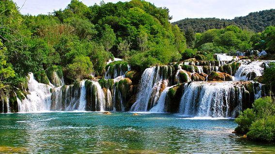 Krka-watervallen - Kroatië van Maurits Simons Fotografie