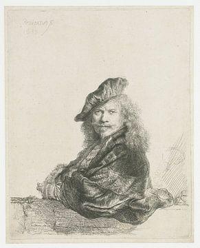 Selbstbildnis mit dem Unterarm, der sich auf eine Steinschwelle stützt, Rembrandt van Rijn.