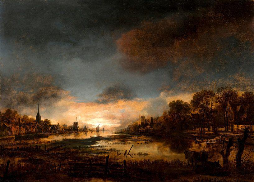 Flusslandschaft bei Sonnenuntergang, Aert van der Neer von Meesterlijcke Meesters