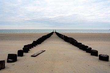 Breiter Strandblick mit Holzbohlen von Eugenlens