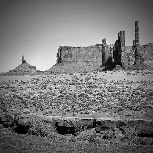 MONUMENT VALLEY Totem Pole black&white van Melanie Viola