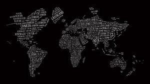 Wereldkaart in Typografie Wit op Zwart