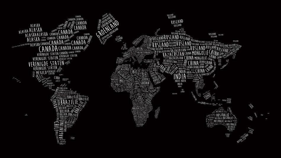 Wereldkaart in Typografie - Alle landnamen in Wit op Zwart