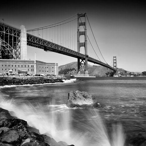 Golden Gate Bridge with breakers