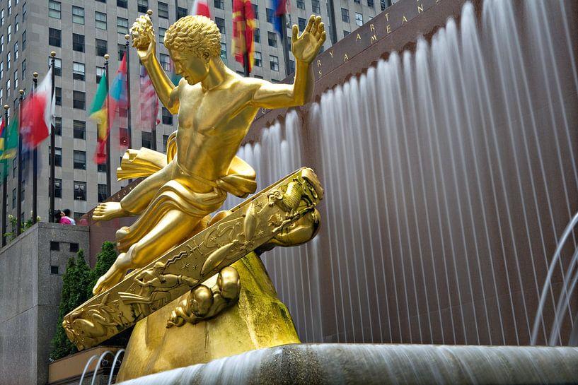 Prometheus bij Rockefeller Center New York van Jean-Paul Wagemakers