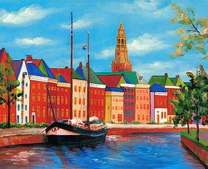 Groningen schilderij Hoge der A met kerktoren van de Der Aa-kerk van