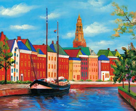 Groningen schilderij Hoge der A met kerktoren van de Der Aa-kerk