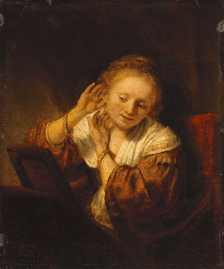 Jonge vrouw met oorbellen, Rembrandt