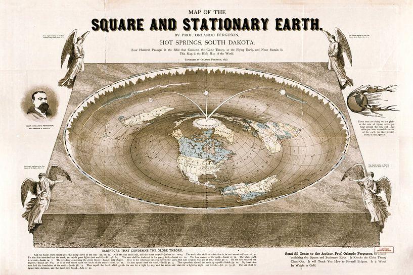 Wereldkaart van een Platte aarde: Map of the square and stationary earth van Nic Limper