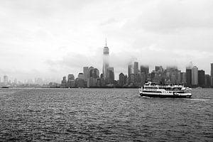 Skyline New York bij mist van