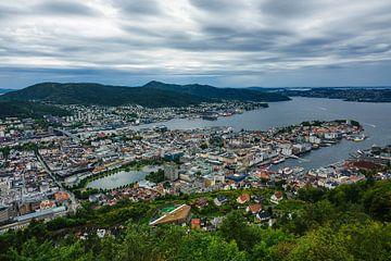 View to the city Bergen in Norway van Rico Ködder